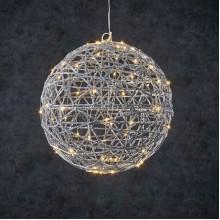 Шар декоративный серебряный, 33 см, 80 led