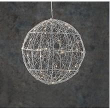 Шар декоративный серебряный, 25 см, 30 led