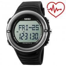 Часы, фитнес-трекер Skmei 1111, черные, в металлическом боксе